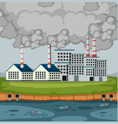 Scene with factory buildings and a lot smoke vector