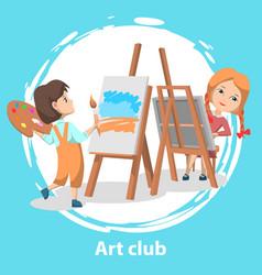 School art kids club girls drawing paintings vector