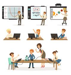 School children at the informatics and programming vector
