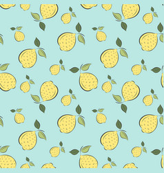 Seamless pattern graphic lemons on blue background vector
