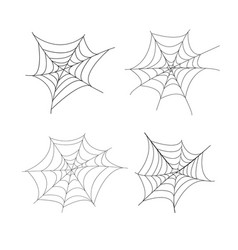 Set 4 spider web isolated vector