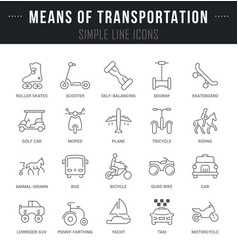 set line icons means transportation vector image