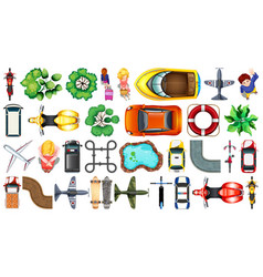 Set various object top view vector