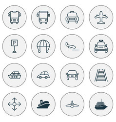 Shipping icons set with parking sign combat vector