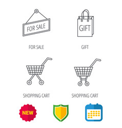 shopping cart gift bag and sale icons vector image