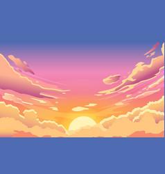sunset sky cartoon summer sunrise with pink vector image