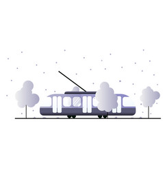 tram surrounded nature tram lines in an urban vector image