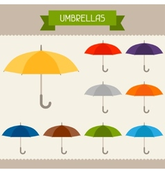 Umbrellas colored templates for your design in vector image