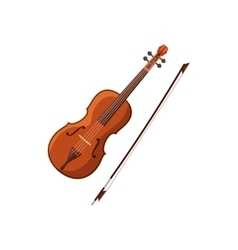 Violin with fiddlestick icon cartoon style vector image