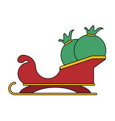 White background with santa claus sleigh with bags vector