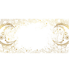 White mystical background with golden crescent vector