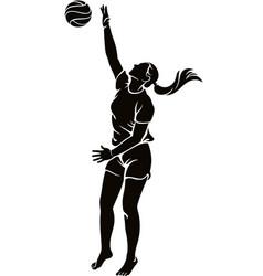 Woman beach volleyball player vector