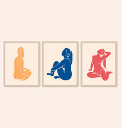 Woman silhouette in different poses sitting girl vector