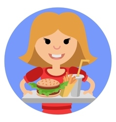 Young girl with fast food in his hands vector