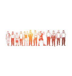 Young men standing together adults and teenagers vector
