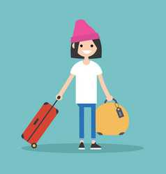 Young teenage girl travelling with her luggage vector