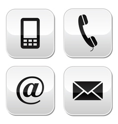 Contact buttons set - email mobile phone vector image vector image