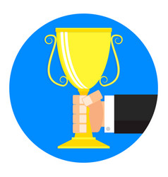 golden cup in hand icon flat cartoon vector image