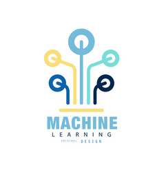 original logo of machine learning computer vector image