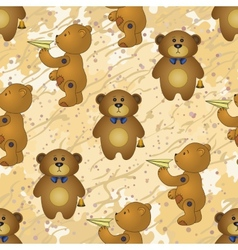 Seamless pattern teddy bears with toys vector image vector image