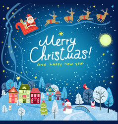 christmas card landscape with santa vector image