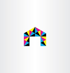 colorful triangle polygon house icon vector image vector image