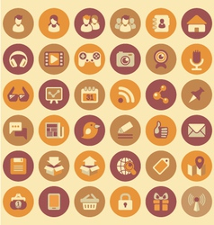 Social Networking Round Icons Set vector image vector image