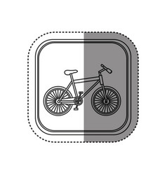 sticker of monochrome rounded square with bicycle vector image