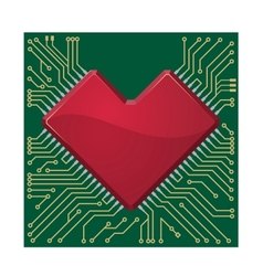 Stylized red heart shape on a circuit board vector image