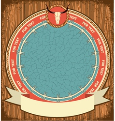Western symbol background on wood texture vector image vector image