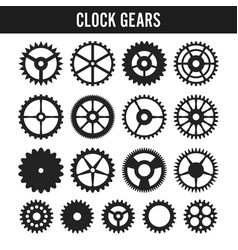 clock gears black icons isolated on white vector image