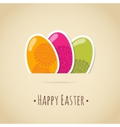Cute easter card with painted eggs floral design vector image vector image