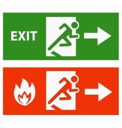 Emergency fire exit door vector image