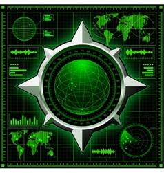 Radar screen with globe vector image