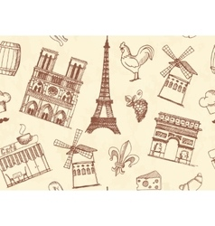 Seamless background with Paris sketches vector image