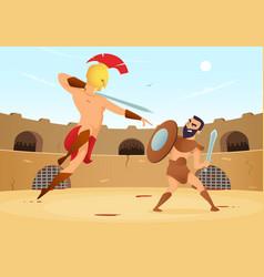 spartan warriors fighting in gladiators arena vector image