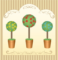 three round floral tree vector image vector image