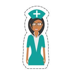 cartoon nurse female with glasses uniform hat vector image