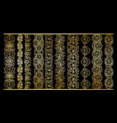golden vertical borders collection floral gold vector image