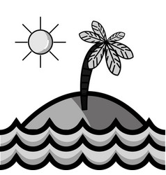grayscale island with palm tree with sun and waves vector image