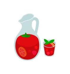 Jar and glass of fresh sangria icon vector image