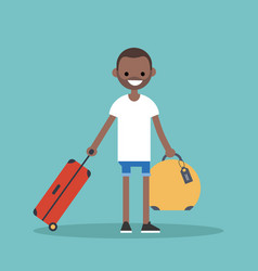young black man travelling with his luggage flat vector image