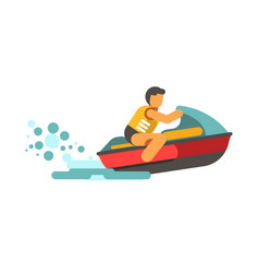 young male person in life vest driving water vector image vector image