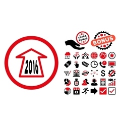 2016 Ahead Arrow Flat Icon with Bonus vector image
