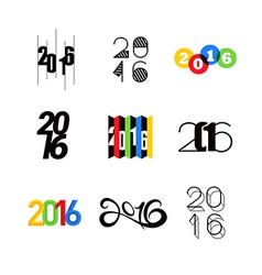 2016 happy new year number text design vector image