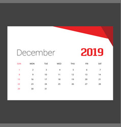 2019 happy new year december calendar template vector image