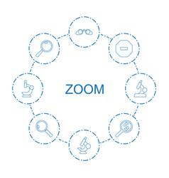 8 zoom icons vector image