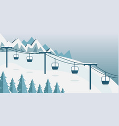 a ski resort with a funicular with cabins vector image