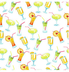 alcoholic cocktails and beverages with straws vector image