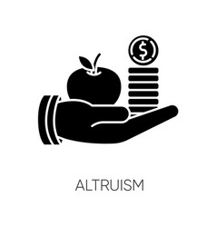 Altruism black glyph icon selfless giving and vector